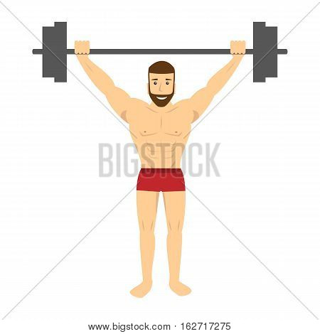 Man with barbell. Sportsman doing exercise with barbell. Vector illustration.