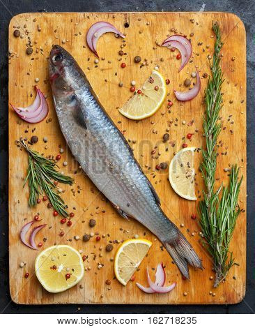 Fresh grey mullet fish lies on light wooden cutting board with lemon segments onion slices rosemary branches peppercorns pepper and other spices around. Top view.