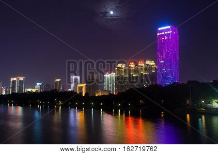 Nanning, China - September 18: View At The Modern Business City Area With High Buildings Reflecting