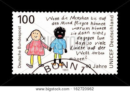 GERMANY - CIRCA 1993 : Cancelled postage stamp printed by Germany, that shows Children drawing.