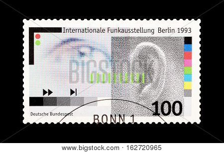 GERMANY - CIRCA 1993 : Cancelled postage stamp printed by Germany, that shows Eye and ear.
