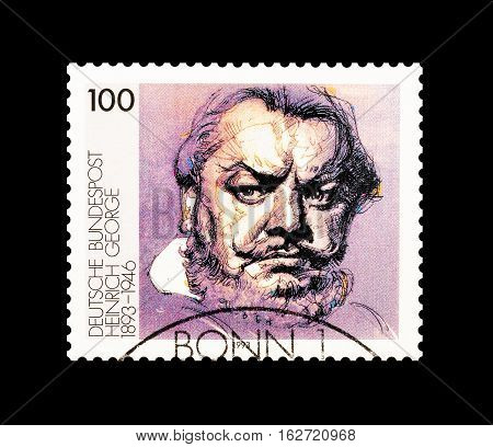 GERMANY - CIRCA 1993 : Cancelled postage stamp printed by Germany, that shows Heinrich George.