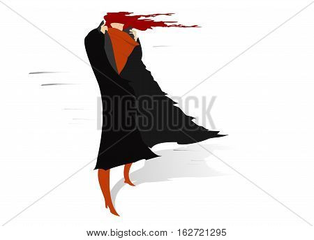 Windy day. Woman with come uncurled hair stays on the wind and lifts a collar of her coat