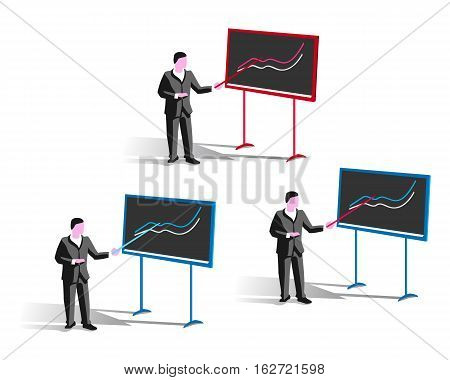 Stock image of man who stands at the blackboard with a pointer and points to a graph