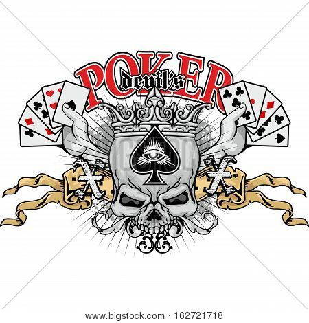 poker coat of arms with skull and ace of spades, grunge.vintage design t-shirts
