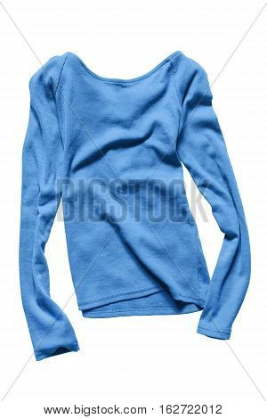 Blue basics casual pullover isolated over white