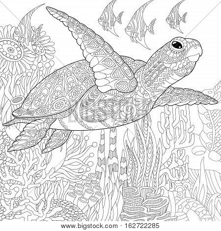 Stylized cartoon underwater composition of turtle (tortoise) and tropical fish. Freehand sketch for adult anti stress coloring book page with doodle and zentangle elements.