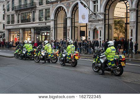 London, UK - 19 December 2016: Police on the motorbikes on Regent Street in London.