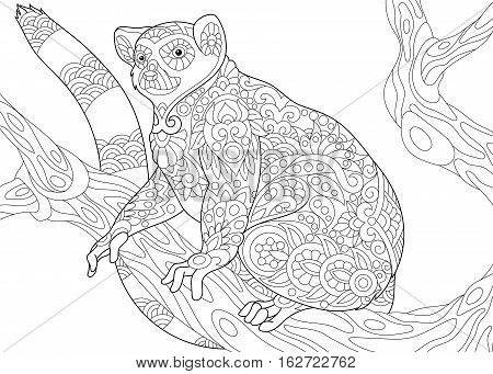 Stylized wild lemur madagascar mammal animal. Freehand sketch for adult anti stress coloring book page with doodle and zentangle elements.
