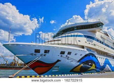 ODESSA, UKRAINE - MAY 4, 2016: Cruise liner Aida Aura in Odessa sea port.