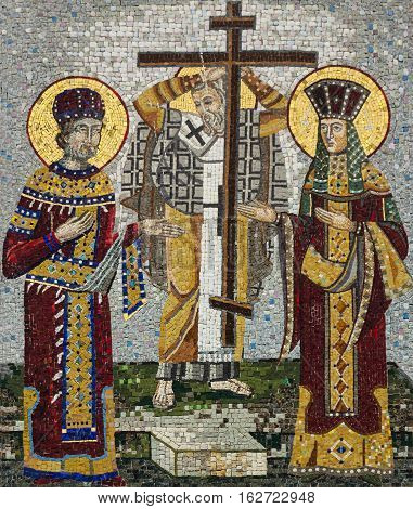 Ostrog, Montenegro - MAY 30, 2016: Mosaic icon of Saint Konstantin and Saint Helena in Serbian Orthodox Christian monastery Ostrog Montenegro. Holy Cross Day.