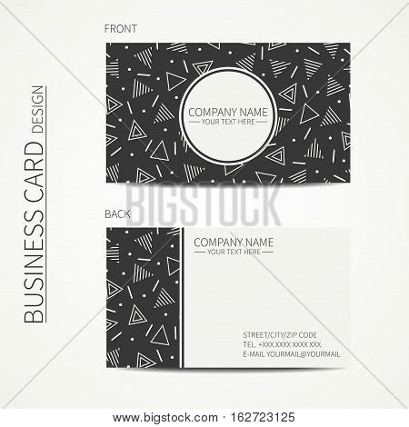 Vector simple business card design. Delta, trigon. Template. Memphis style. Business card for corporate business and personal use. Trendy calling card. Geometric triangle pattern.