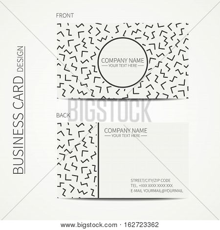 Vector simple business card design. memphis style. Template. Black and white. Business card for corporate business and personal use. Trendy calling card. Geometric triangle pattern.