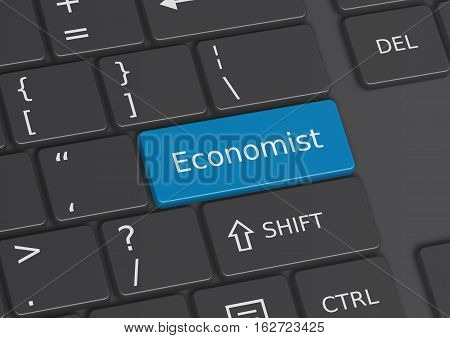The word Economist written on a blue key from the keyboard