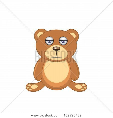 Sleepy Brown Bear Isolated On White Background