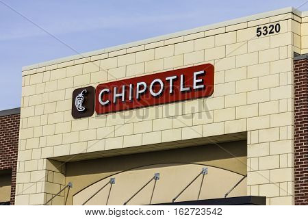 Indianapolis - Circa December 2016: Chipotle Mexican Grill Restaurant. Chipotle is a Chain of Burrito Fast-Food Restaurants IX