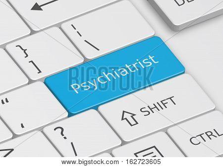 The word Psychiatrist written on a blue key from the keyboard