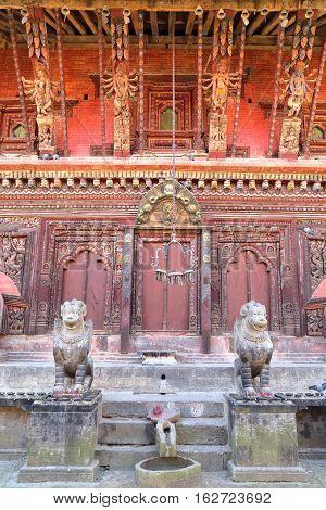 BHAKTAPUR, NEPAL: Architectural details of Changu Narayan Temple near Bhaktapur