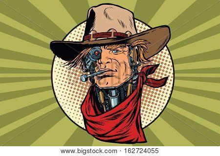 wild West bandit robot steampunk, pop art retro vector illustration
