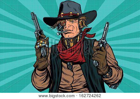 Steampunk robot cowboy bandit with gun, pop art retro vector illustration. Science fiction. Wild West Western
