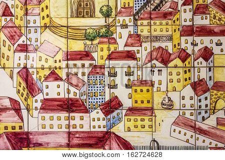 LISBOA, PORTUGAL - MAY 23, 2016: Ancient ceramic tile with Lisbon panorama in museum Azulejo, Lisbon, Portugal.