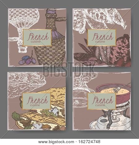 Set of four color French cuisine templates. Includes hand drawn sketch of sausages, crepes, fondue and wicker wine bottle. Great for restaurants, cafes, recipe and travel books.