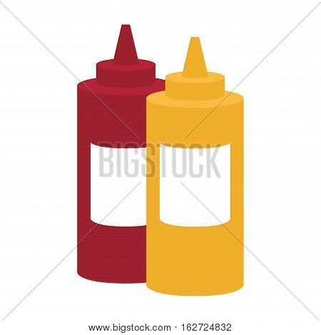 ketchup mustard sauce bottle fast food related icon image vector illustration design