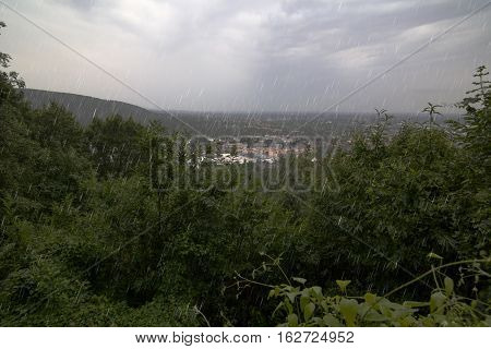 Outlook over the town of Ettlingen Baden-Wurttemberg Germany on a rainy day.
