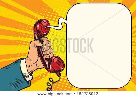 Retro handset in hand, pop art retro vector illustration. Phone and gadgets