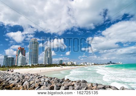 South Beach Miami Beach. Florida. Aerial view. Paradise. South Pointe Park and Pier