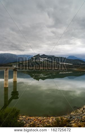 Beautiful lake in Zahara de la Sierra, Andalusia, Spain