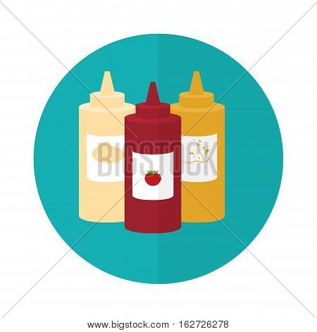mayonnaise ketchup mustard sauce bottle fast food related icon image vector illustration design