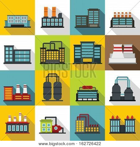 Industrial building factory icons set. Flat illustration of 16 industrial building factory vector icons for web