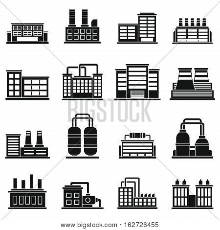 Industrial building factory icons set. Simple illustration of 16 industrial building factory vector icons for web