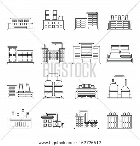 Industrial building factory icons set. Outline illustration of 16 industrial building factory vector icons for web