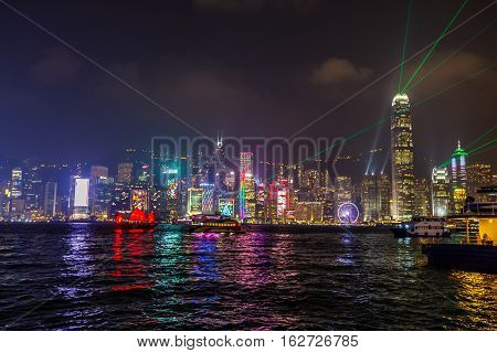 Hong Kong island skyline seen from the waterfront of Tsim Sha Tsui in Kowloon during the show Symphony of lights with colored lasers fired from the most famous buildings in Hong Kong.