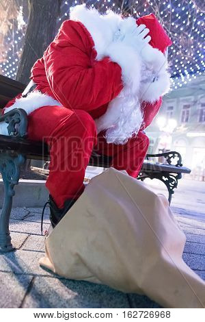 Worried Santa Claus. Frustrated Santa Claus Worried