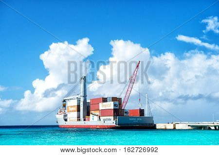 Cargo Ship With Crane And Containers