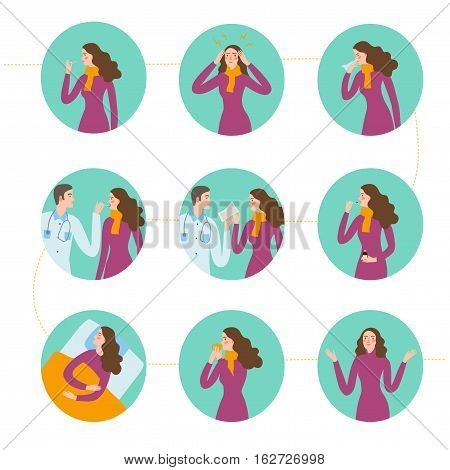 Cold and flu stages set. Including symptoms and treatment. Medical care informative vector illustration.