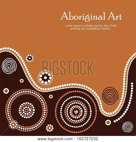 Aboriginal art illustration. Vector Banner with text.