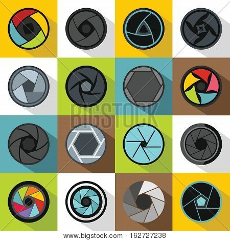Photo diaphragm set. Flat illustration of 16 photo diaphragm vector icons for web