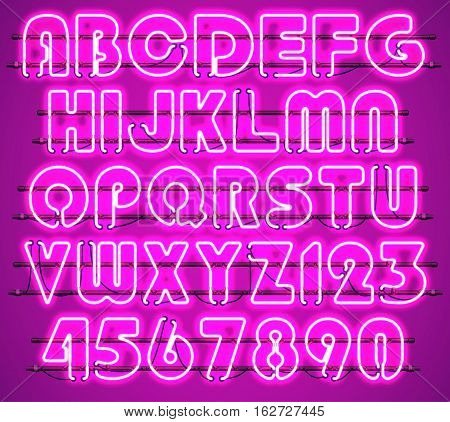 Glowing Purple Neon Alphabet with letters from A to Z and digits from 0 to 9 with wires tubes brackets and holders. Shining and glowing neon effect. Every letter or digit is separate unit.