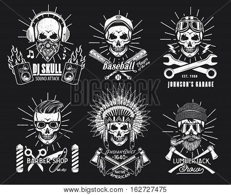 Skull Logo Set. Vector Illustration. DJ, Baseball Player, Mechanic, Barber an Indian Chief Lumberjack