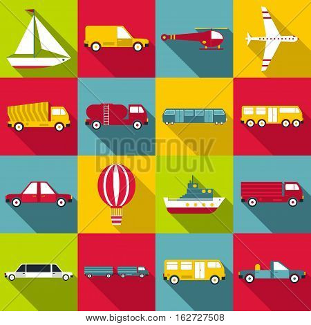 Transportation items icons set. Flat illustration of 16 transportation items vector icons for web