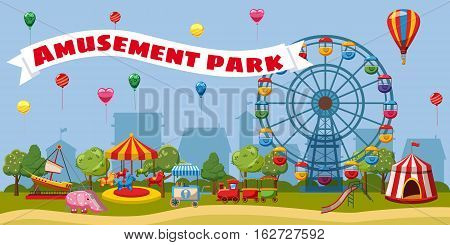 Amusement park landscape concept. Cartoon illustration of amusement park landscape vector concept for web
