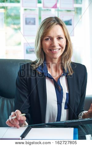 Female Estate Agent Working At Computer In Office