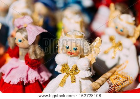 Colorful Belarusian Straw Dolls At Local Market. Straw Dolls Are Most Popular Souvenirs From Belarus And Symbol Of Country's Culture