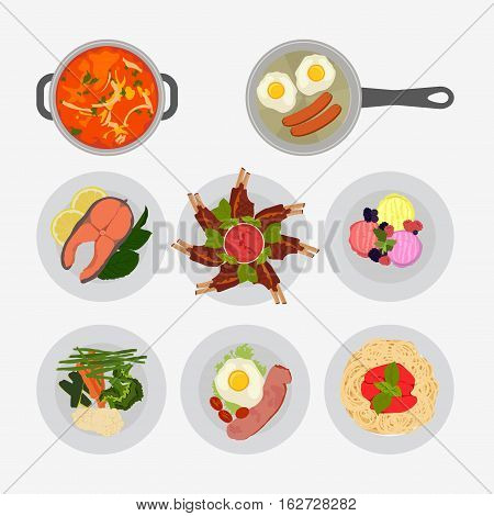 Various Plates Of Food