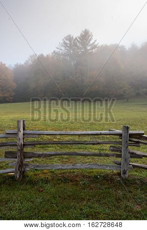 Section of Split Rail Fence and Foggy Field along the Blue Ridge Parkway