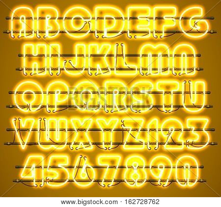 Glowing Yellow Neon Alphabet with letters from A to Z and digits from 0 to 9 with wires tubes brackets and holders. Shining and glowing neon effect. Every letter or digit is separate unit.